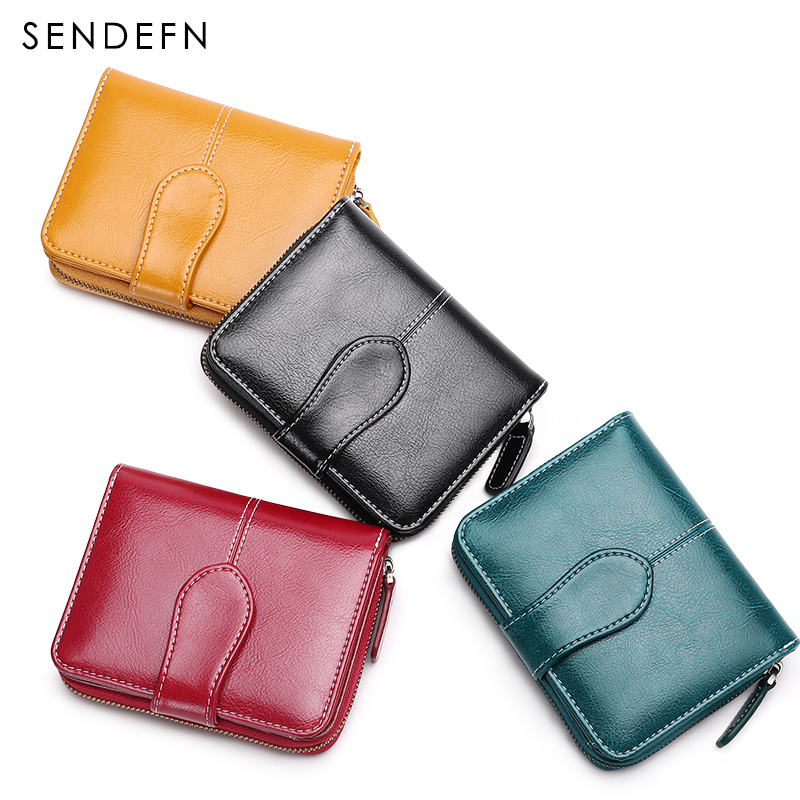 Купить с кэшбэком Lady Leather Purse Women Short Wallets SENDEFN 2020 New Vintage Grils Purses Female Small Wallet Card Holder