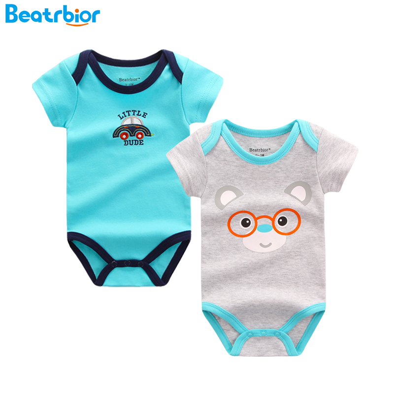 2Pcs/lot Baby BodySuits Cotton Boy Girl Jumpsuit Newborn Clothes Short Sleeve Baby Body Suit Ropa Bebes Infant Clothing retail children s clothing set bebes baby clothes baby boy cotton striped romper jean pants 2pcs suit infant denim clothing