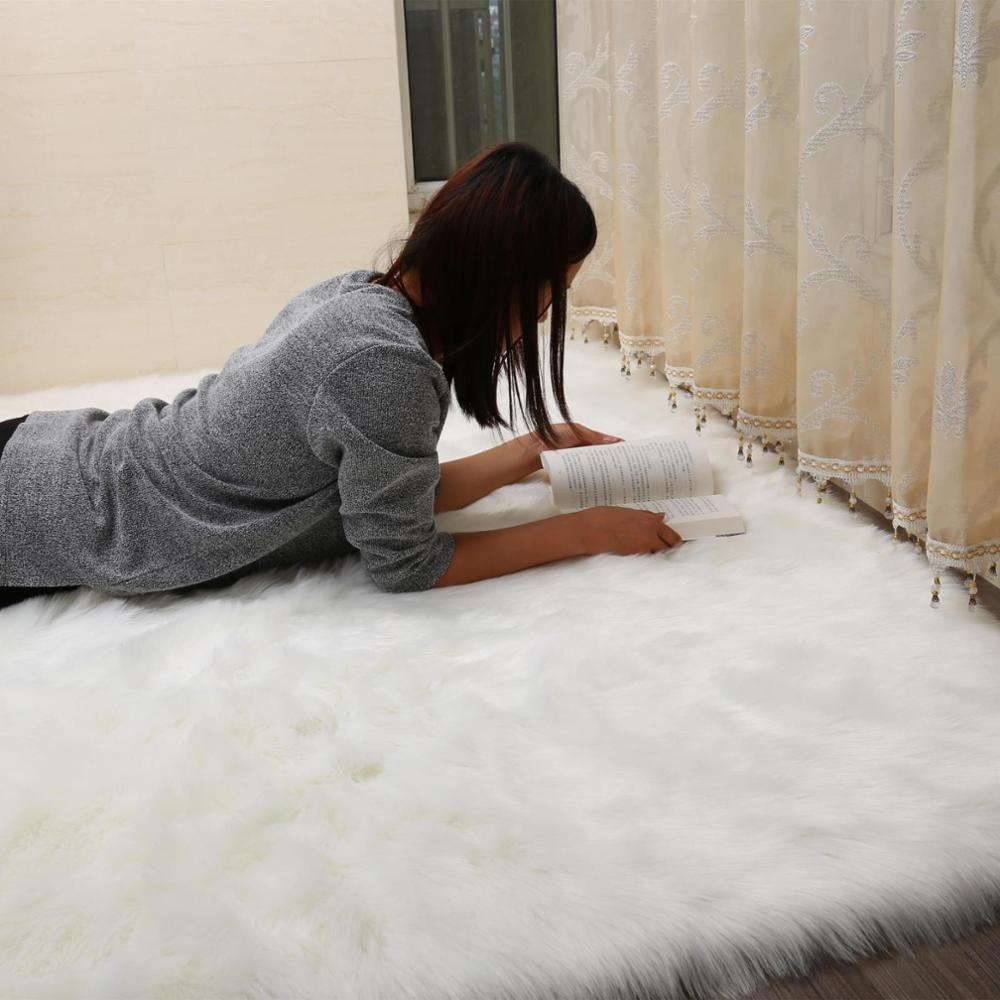 Luxury Rectangle Sheepskin Hairy Carpet Faux Mat Seat Pad Fur Plain Fluffy Soft Area Rug Tapetes Sofa hallway dressr mat