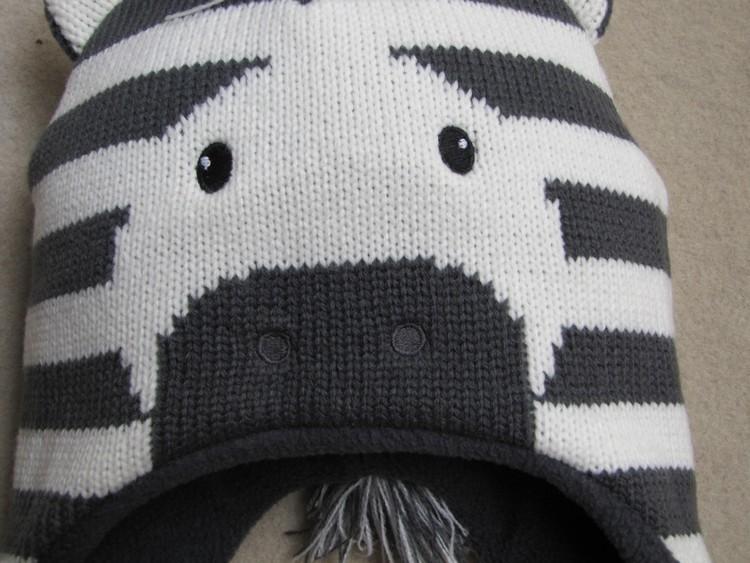 Baby Boys Winter Warm Hats Cartoon Zebra Pattern Caps Kids Knitted Caps Ear Flaps Beanies Children's Girls Cute Animal Sckullies 14