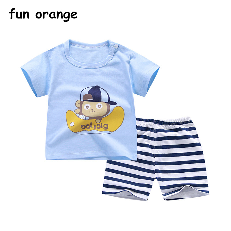 Fun Orange Children Summer Set Cotton Baby Boys Girls Short Sleeve T-shirt Shorts Infant Set