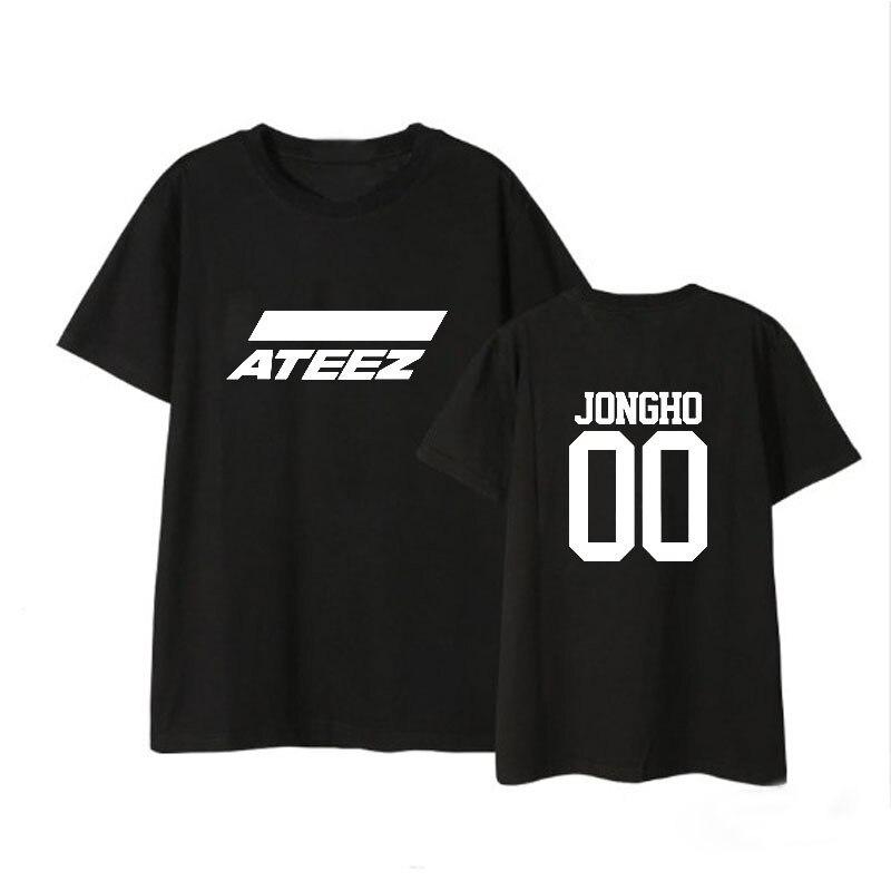 2624c57426b1 ATEEZ harajuku kpop Camiseta de manga corta de algodón para hombres y  mujeres versión coreana ...