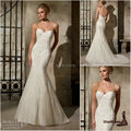 2017 Elegant Sweetheart Beading Applique Mermaid Lace Wedding Dresses Backless Brush Train White Bridal Gowns