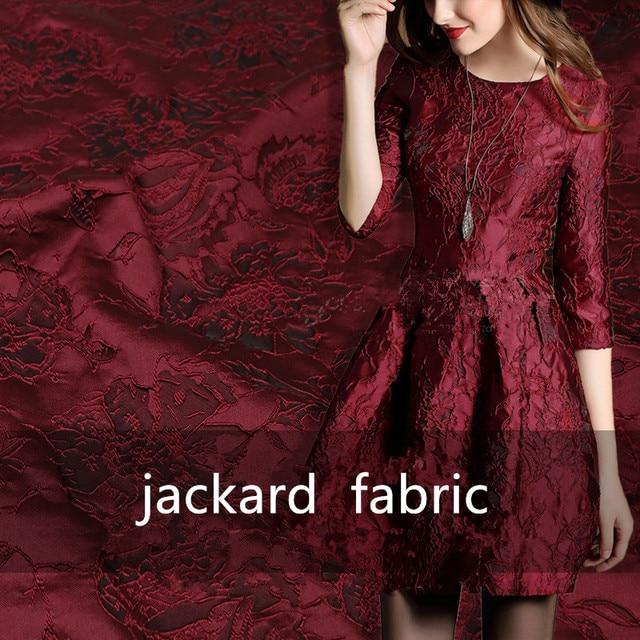 "1Meter Wine Black  Jacquard Brocade Fabric Sewing On Clothing Dress Material Patchwork Diy ZAKKA Flower Fabrics  286G/M 53"""