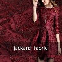 SASKIA 1 mètre/lot Jacquard brocart tissu africain dentelle coudre vêtements robe matériel Patchwork ZAKKA tissus 286 G/M noir vin
