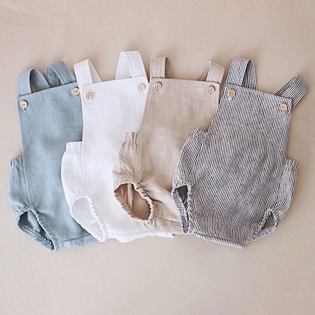 Baby & Toddler Summer Romper - Blue, White, Beige, Striped