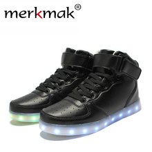 2016 Super Hot Men Fashion Luminous LED Shoes High Quality Lights Up USB Charging Colorful Shoes Lovers Casual Flash Flats