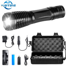 15000 Lumens LED Tactical Flashlight T6/L2/V6 Porable Torch 5 Mode Adjustable Focus waterproof IPX6 by 18650 battery for Camping albinaly led tactical flashlight cree xml t6 l2 8000 lumens porable torch 5 mode adjustable focus waterproof use 18650 battery