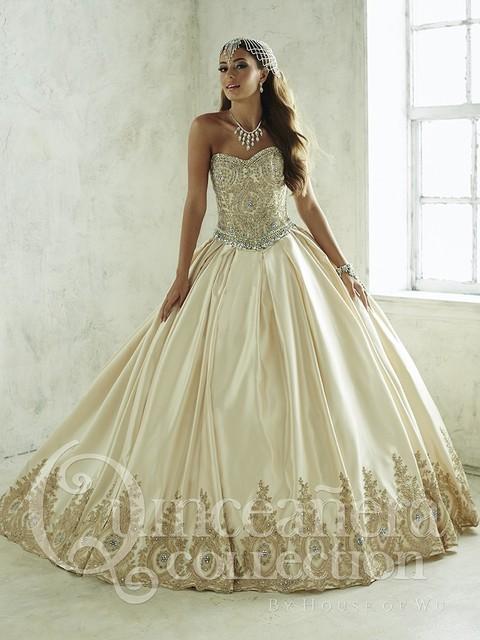 2017 barato vestidos de quinceañera vestido de bola del satén cristales rebordeó fluffy champagne desmontables vestidos de sweet 16 vestidos del desfile b33