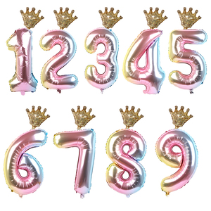 1set 30inch Number Foil Balloons 1 2 3 4 5 6 Years Old Kid Boys Girls Crown Happy Birthday Balloon Baby Shower Decor Supplies(China)