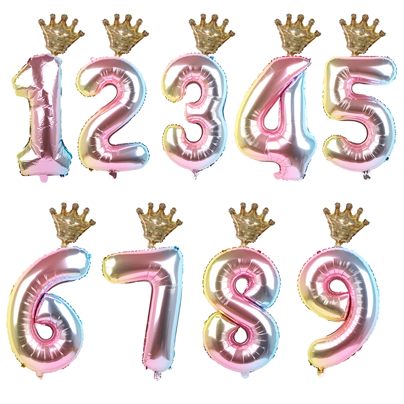 1set 30inch Number Foil Balloons 1 2 3 4 5 6 Years Old Kid Boys Girls Crown Happy Birthday Balloon Baby Shower Decor Supplies