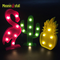 Cute Flamingo Led Night Light ABS Marquee Sign Led Pineapple Cactus Wall Lamps For Kids Children Gift Party Wedding Room Decor