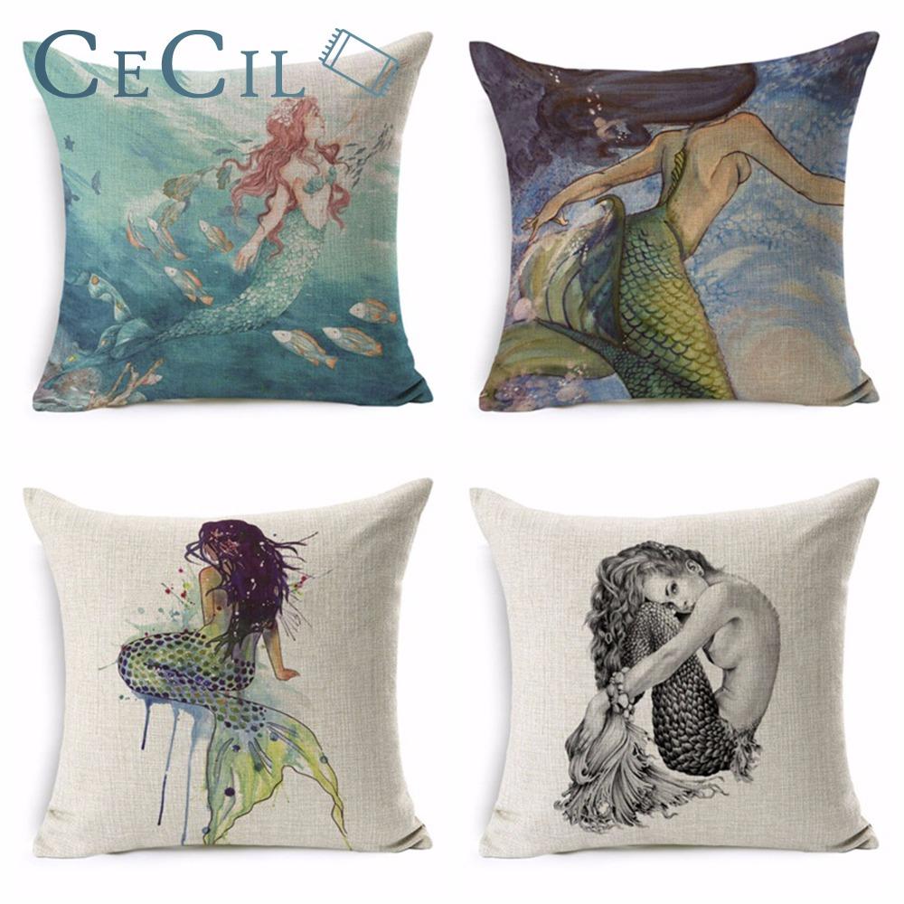 Sweet Life Cartoon Mermaid Breathable Cushion Cover Home Decor 45x45 Sofa Cushions Creative Decorative Throw Pillow Covers