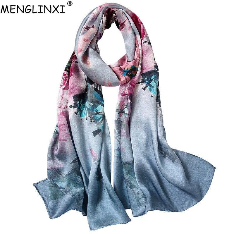 100% Silk Scarf Spring Summer Pure Silk Scarf Shawl Hand-rolled Edges Natural Silk Scarf Women Luxury Fashion Scarves Wraps