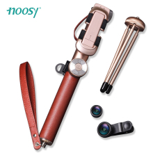 NOOSY Leather Portable Bluetooth Selfie Stick+Shutter+Mini Tripod+Lens 245-950mm Foldable Extendable Monopod for iPhone Android