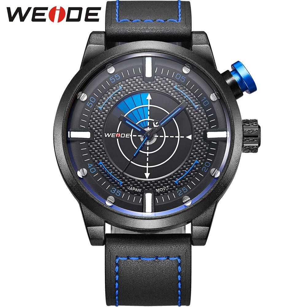 WEIDE Men Casual Sport Backlight Waterproof Analog Quartz Leather Strap Buckle Wristwatch Round Case Blue Dial Relogio Masculino