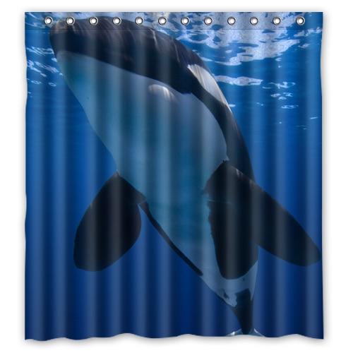 Ocean Giants Killer Whale Blue Designer Bath Fabric Bathroom Products Waterproof Shower Curtains 48x72 60x72 66x72 Inches