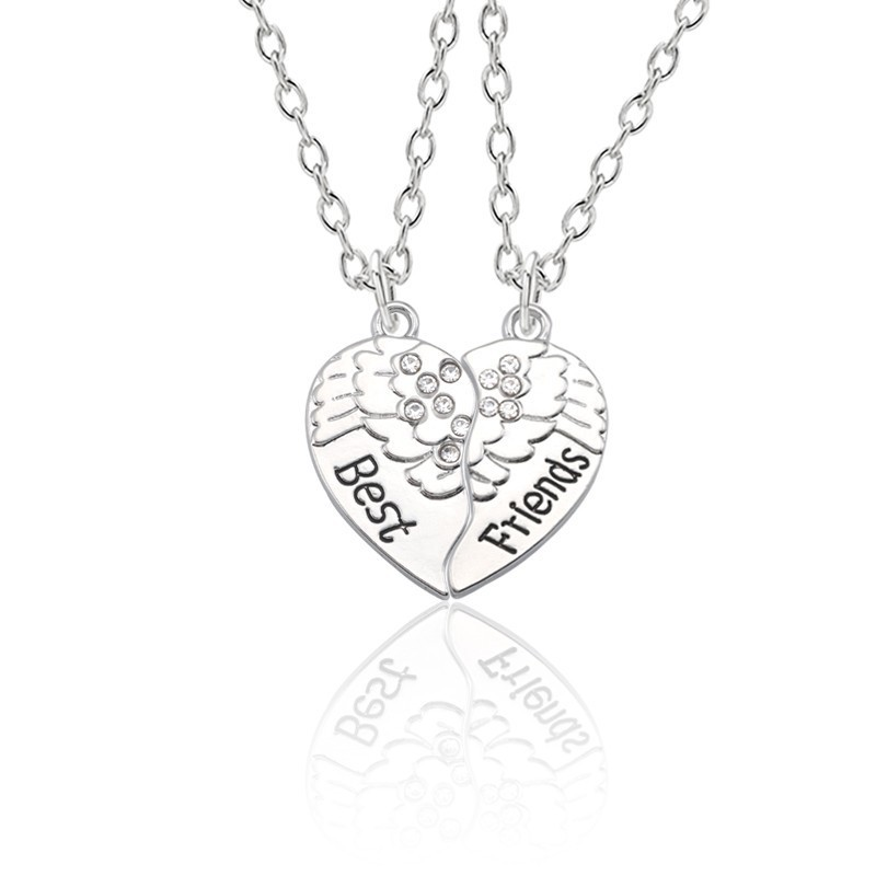 2 Pcs/set Best Friends Forever Necklaces Carved Wings Broken Heart Pendant Necklace BFF Silver Chain For Best Friend Xmas Gifts chain