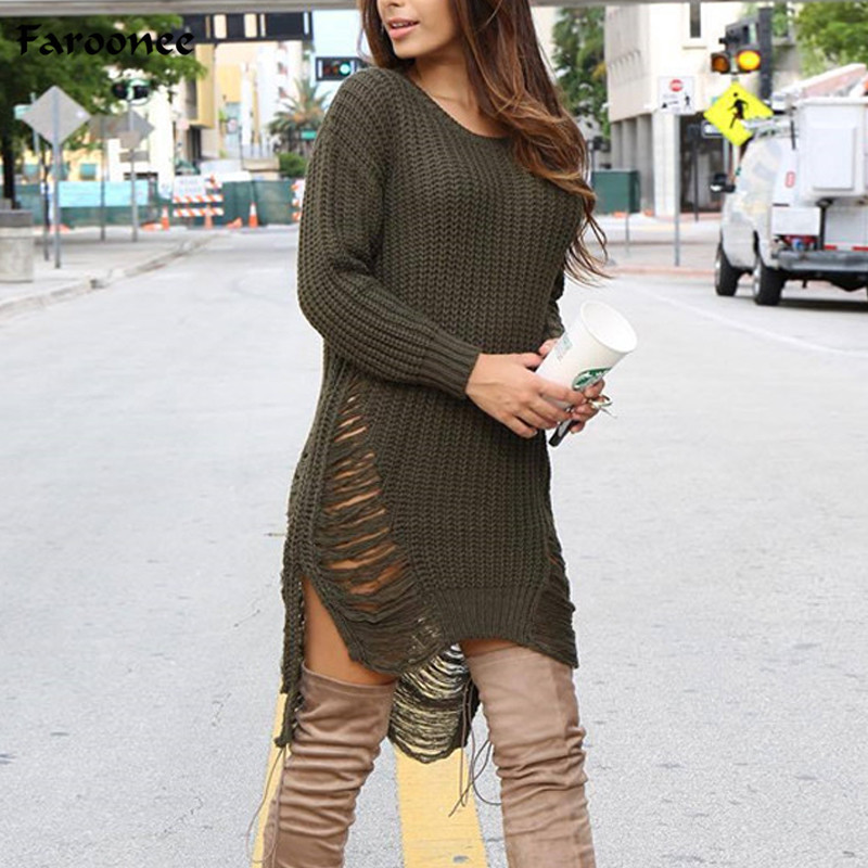 Faroonee Women Ripped Out Holes Sweater and Pullover Irregular Oversized  Lady Tricot Knitwear Sexy Sweater Dress 5b2f389ae