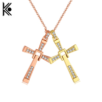 free shipping The Fast and the Furious 8 Celebrity Dominic Toretto Crystal Jesus Vin diesel Cross Pendant Necklace Jewelry