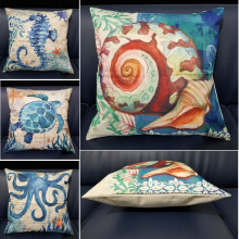 Marine Life Snail Coral Sea Turtle Seahorse Octopus Animal Print Cushion Cover Linen Cotton For Sofa Home Decor Pillowcase