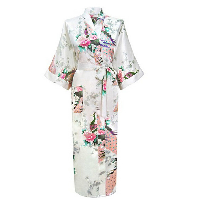 Chino blanco Mujer Sexy Con Cuello En V Albornoz Rayon Seda Ropa de Dormir Batas Largas Floral Más El Tamaño S A XXXL