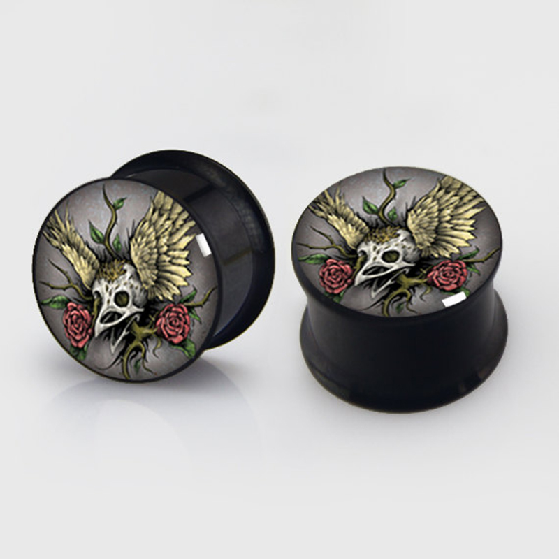 2 pieces bird skull plugs anodized black ear plug gauges steel flesh tunnel body piercing jewelry 1 pair