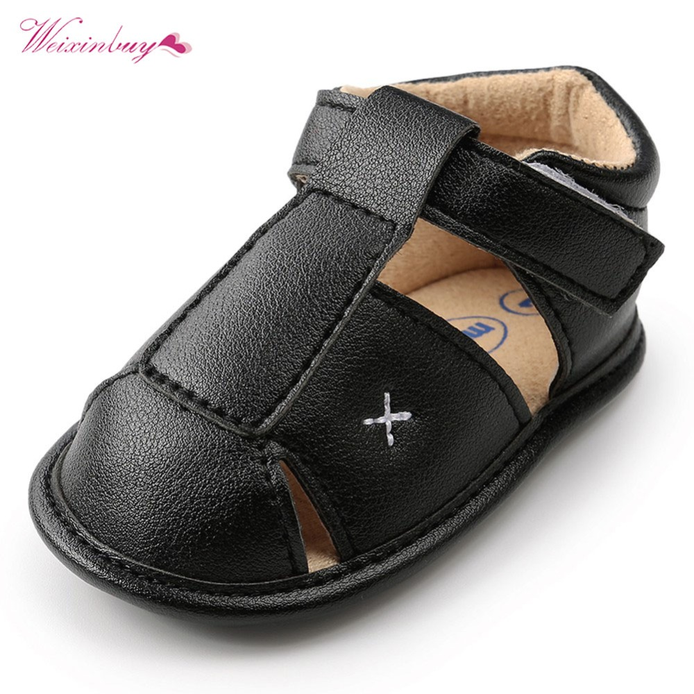 Summer Shoes Baby Boys Sandals Soft Leather Bebe Boys Summer Prewalker Soft Sole Genuine Leather Beach Sandals 4 Colors