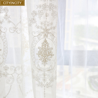 CITYINCITY European White Curtains For living room Sheer Voile Luxury Embroidered Tulle Curtains For Kitchen Bedroom  Customized