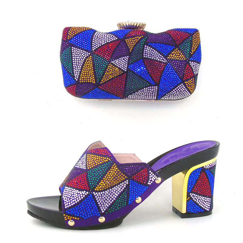 ФОТО New Italian Design Women Shoes And Evening Bag Set Fashion High Heels Slipper Shoes And Bag Set For Party Low Price THS17-02