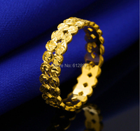 Аутентичное кольцо из желтого золота 24 К/женское Двухрядное кольцо для монет/3,05 г