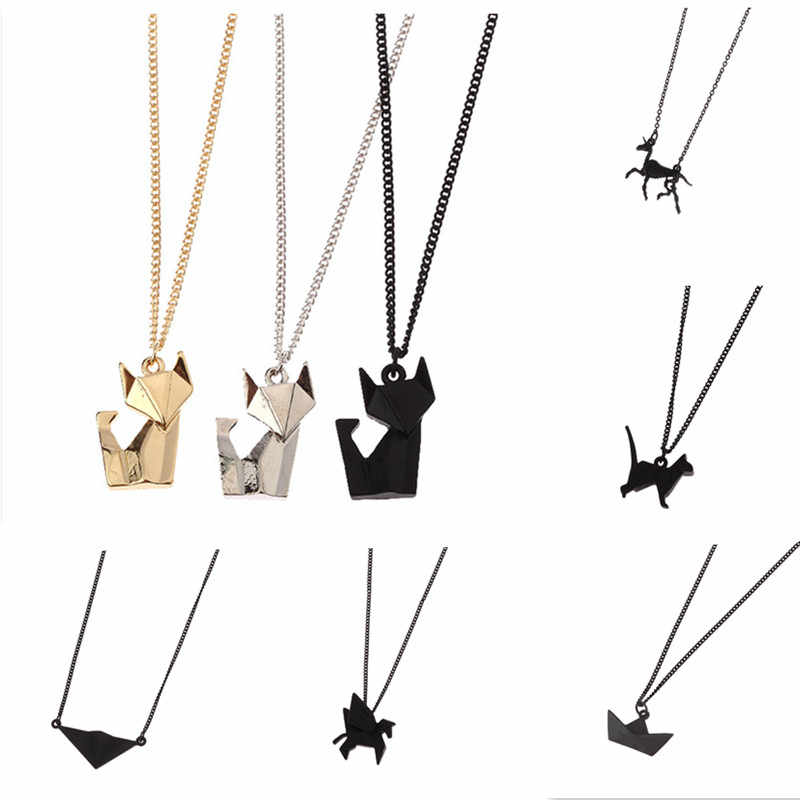 Animal necklace geometry stereo origami The fox cat pegasus rabbit fashion short necklace Collarbone chain