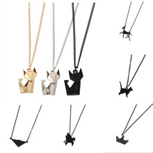 Animal necklace geometry stereo origami The fox cat pegasus rabbit fashion short Collarbone chain