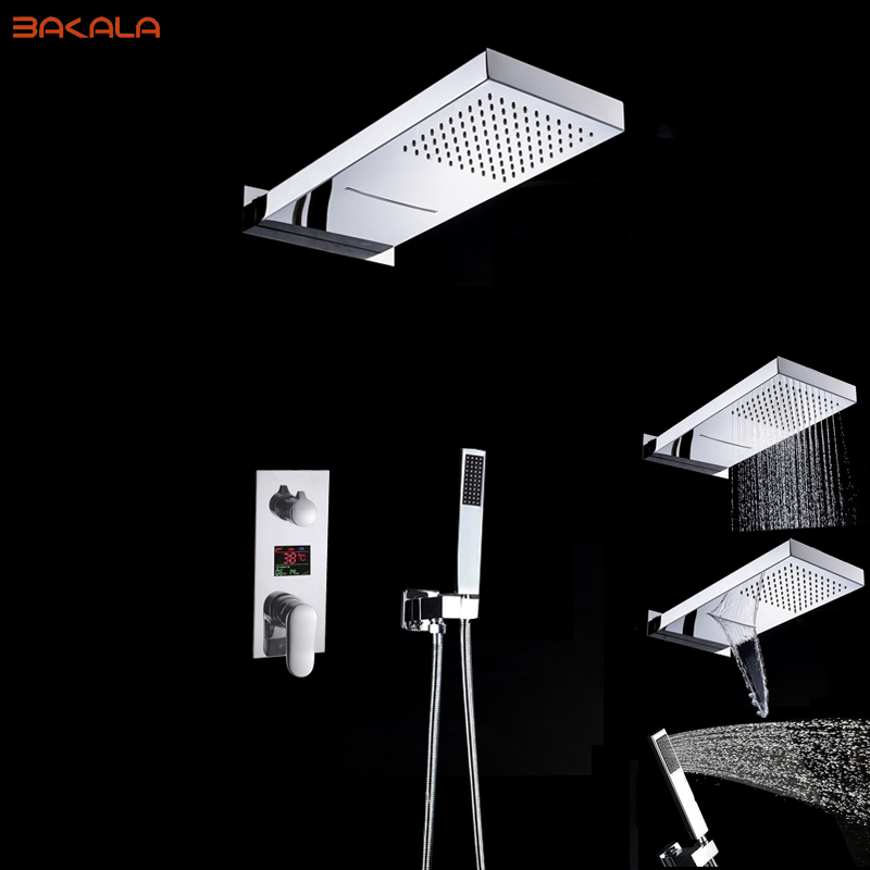 BAKALA Bathroom LED Shower Set 3 Functions LED Digital Display Shower Mixer Concealed Shower Faucet 20 Inch Rainfall Shower Head freeshipping brass 10 inch led shower head led shower temperature led water led bathroom faucet shower