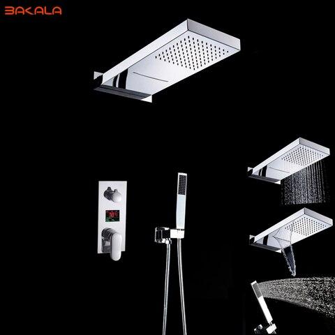 Misturador do Chuveiro Torneira do Chuveiro Cabeça de Chuveiro Bakala Banheiro Chuveiro Conjunto 3 Funções Display Digital Escondido 20 Polegada Chuvas Led