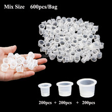 600pcs Mixed Sizes Plastic Tattoo Ink Cup Mixed Sizes #9 Small #13 Medium #16 Large Clear Classic Tattoo Ink Cups