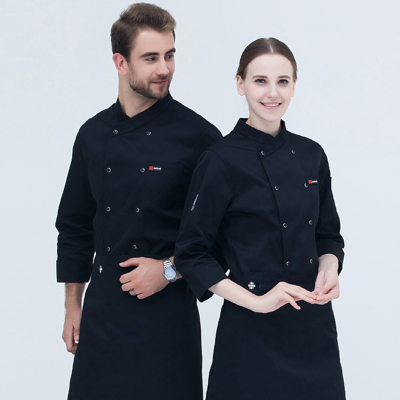 New Chef Uniform Adult Restaurant Coffee Bar Kitchen Chef Jacket Men;s Long-sleeve Chef Work Suit Concise Work Uniform B-6543