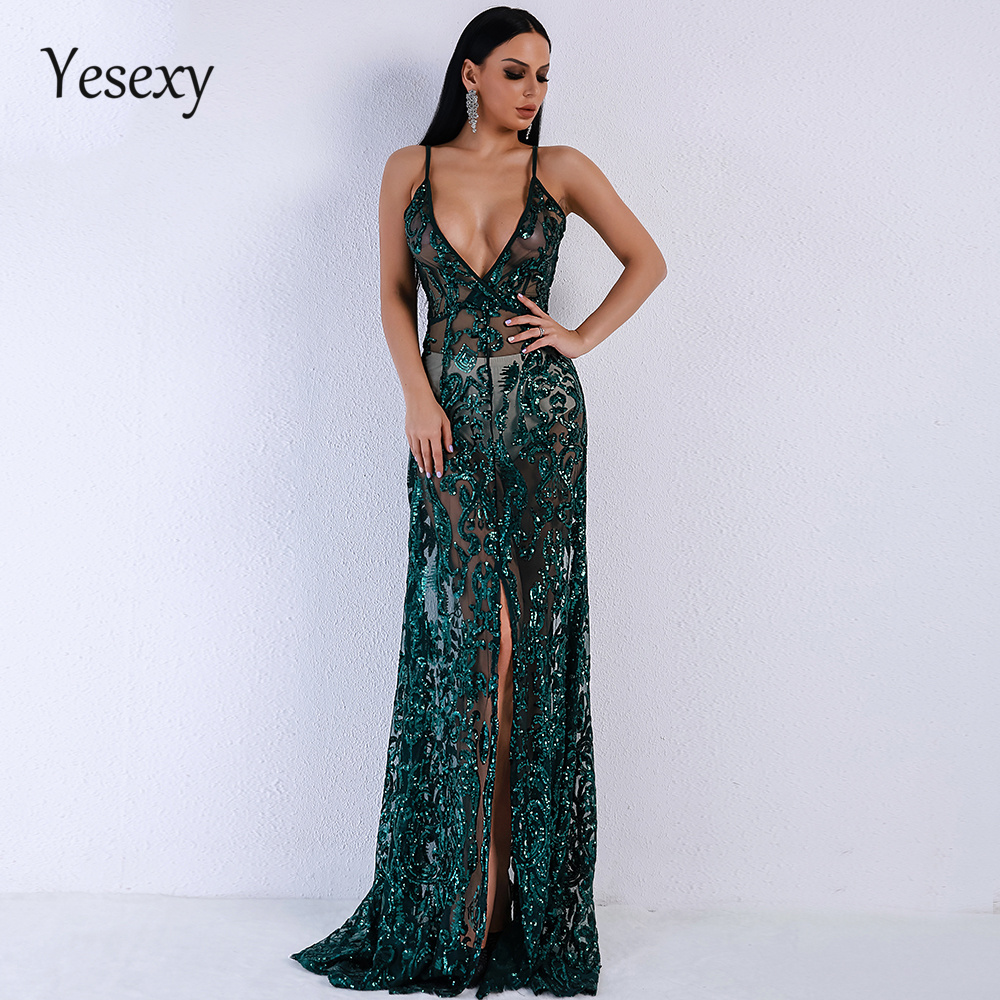 Yesexy 2019 Women Summer Sexy V neck Off Shoulder Middle Split Women Dress Sequin See Through