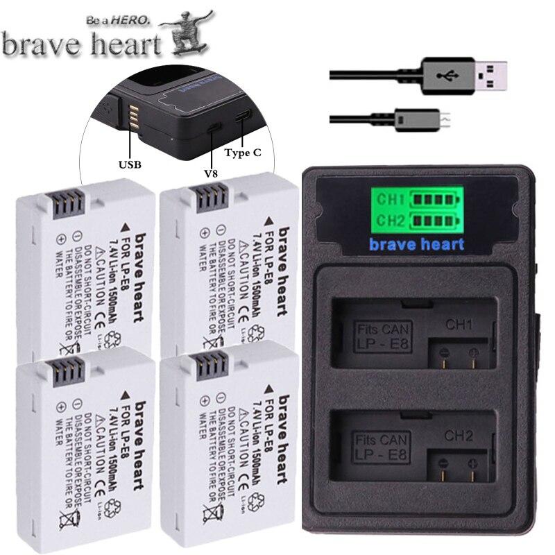Digital Batterien Unterhaltungselektronik Lcd Dual Ladegerät Für Canon Eos 550d 600d 650d 700d X4 X5 X6i X7i T2i Humor Palo 2 Pcs 1800 Mah Lp-e8 Lpe8 Lp E8 Batterie Batterie Akku