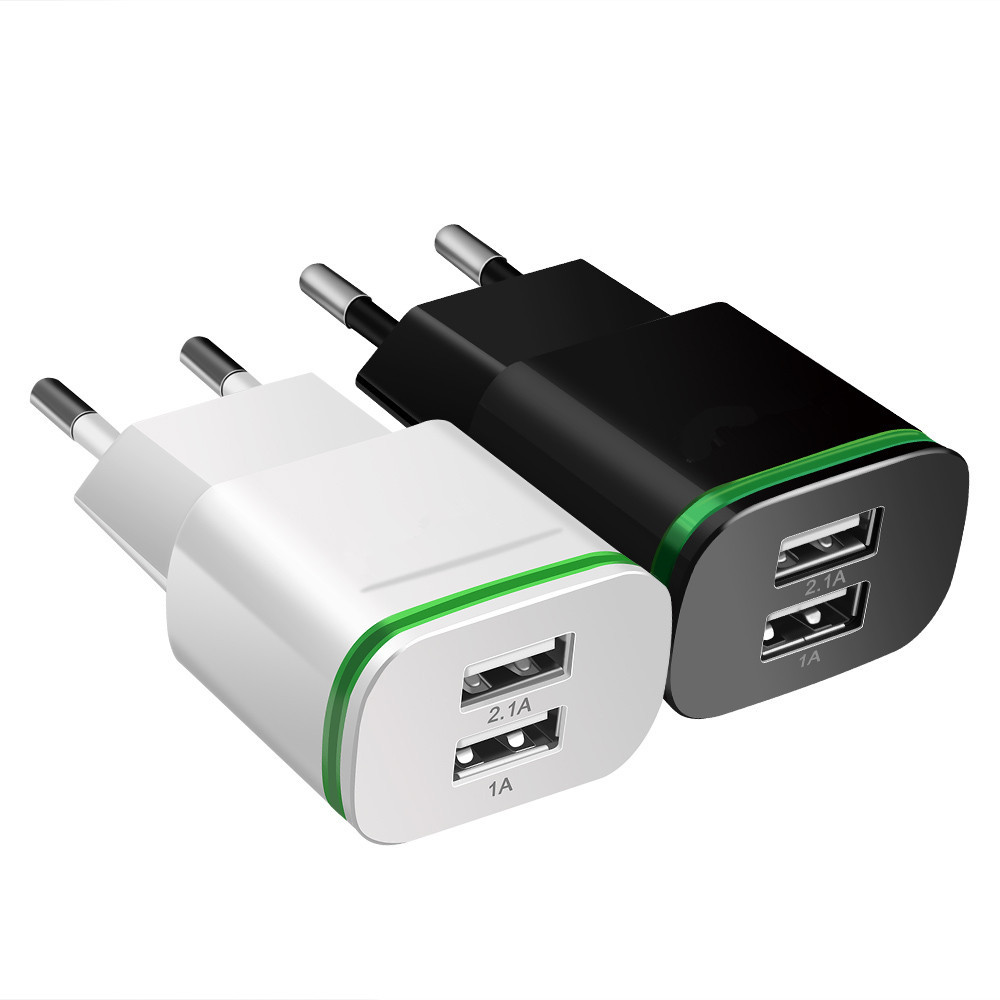Image 5 - Phone Charger  EU US Plug 2 Ports LED Light USB Charger 5V 2A Wall Adapter Mobile Phone Charging For ios  andriod smart phones-in Mobile Phone Chargers from Cellphones & Telecommunications