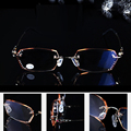 = CLARA VIDA = Fashion Ladies HD Luxury Diamond Cutting Edges Ultra Light Rimless Reading Glasses With Case +1 +1.5 +2 +2.5 +3