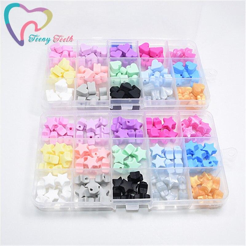 Teeny Teeth 10PCS Candy Pink 14 MM Silicone Beads Star Shape Food Grade Teether BPA Free Ecofriendly Beads Bracelet DIY Jewelry