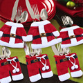 Cultery Tableware Knife Fork Holders Santa Clothes Style Silverware Bags Cover Suit Christmas Festive & Party Supplies