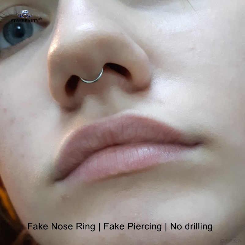 Starbeauty, 2 шт./лот, Хит, U C, O, поддельное кольцо для носа, обруч, перегородка, кольца, Лабрет, губы, имитация пирсинга, пирсинг, Oreja, пирсинг, ювелирные изделия для тела