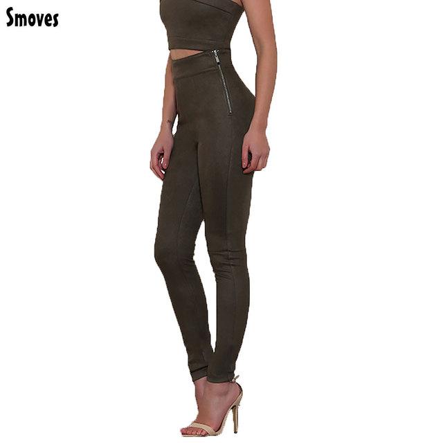 SMOVES Buena Elasticidad de la Cremallera Lateral Pantalones de Cintura Alta Para Mujer Suede Invierno Pantalón Otoño Primavera Pitillo Elásticos Lápiz Apretado Pantalón
