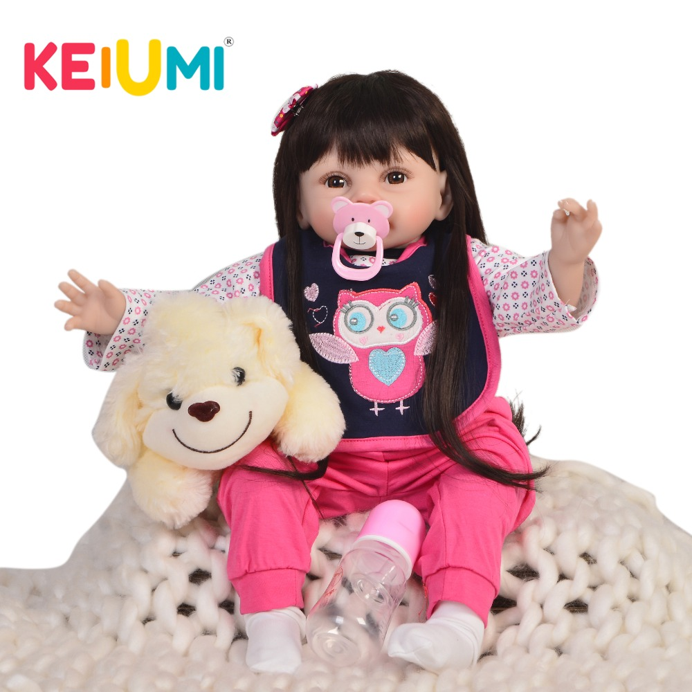KEIUMI 22'' 55 cm Lifelike Reborn Baby Doll Soft Vinyl Silicone So Truth Like Baby Dolls For Girl Kids Christmas Birthday Gifts fashion 40 cm american girl dolls soft vinyl princess doll lifelike silicone reborn baby dolls cheap birthday gifts for children