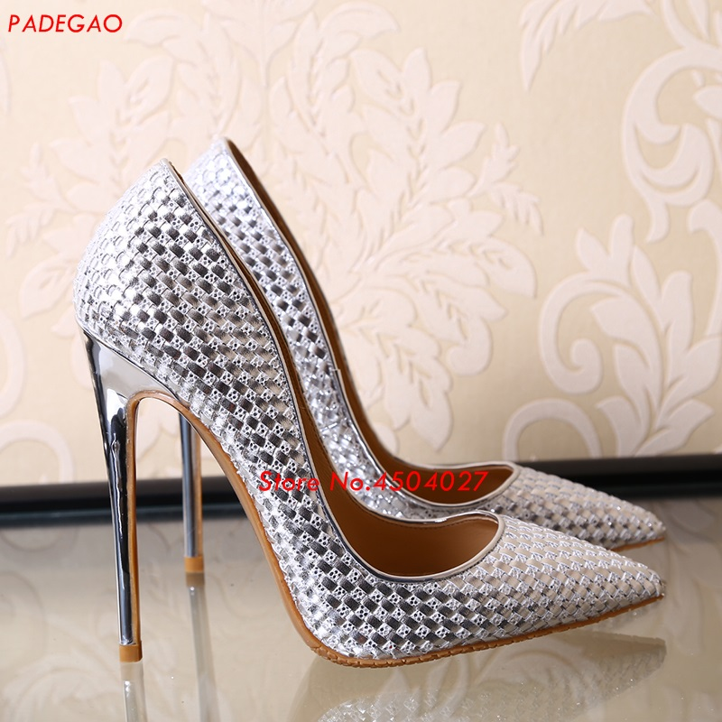 Silver/Gold/Black Woman High Heels Slip-On Pumps Stiletto Heel Women's Shoes Pointed Toe Party Dress Shoes aiweiyi 2018 summer women shoes pointed toe stiletto high heel pumps dress shoes high heels gold transparent pvc shoes woman