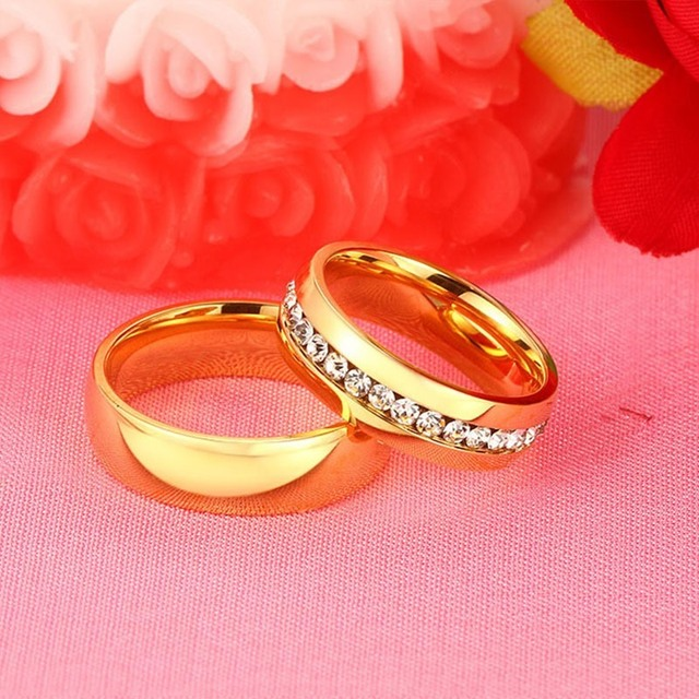 Meaeguet Gold color Stainless Steel Wedding Bands Shiny Crystal Ring for Female Male Jewelry 6mm Engagement Ring USA Size 5-13 2