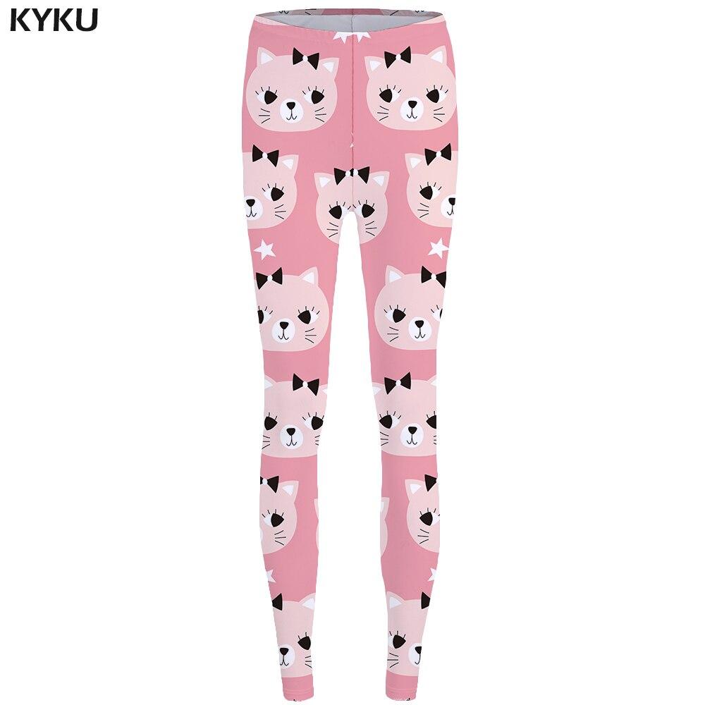 KYKU Cat   Leggings   Pink Long Legings Lovely High Waist Leggins fitness Print   Legging     legging   femme Women Spandex Ladies