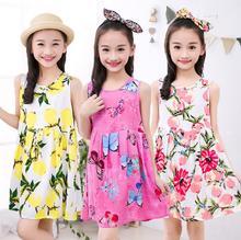 все цены на Summer Girls Dress Cotton Bohemian Floral Tunic Beach Dress children kids casual Sundress For 4 6 8 10 12 14 Years Plus Size онлайн